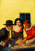 Pulp, Pulp-like, Digests, and Paperback Art, WALTER MARTIN BAUMHOFER (American, 1904-1987). The Card Players,Dime Western Magazine, pulp cover, May 1933. Oil on can...