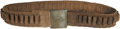 """Western Expansion:Cowboy, Equipment: Winchester .38-40 Web Belt. 2"""" tan fabric, 31¼"""" longwith an additional 6½"""". The belt, with forty-five loops, has..."""