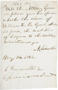 "Autographs:U.S. Presidents, Abraham Lincoln Autograph Endorsement Signed ""A. Lincoln"" as president. One page, 3.5"" x 5.5"", May 26, 1862, [Washington..."