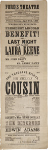 Autographs:U.S. Presidents, [Abraham Lincoln] Our American Cousin Souvenir Playbillreprinted shortly after President Lincoln's assassinatio...