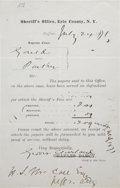 "Autographs:U.S. Presidents, Grover Cleveland Printed Document Signed and Engrossed as sheriffof Erie County, New York. One page, partly printed, 5"" x 8..."