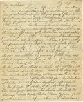 "Autographs:Statesmen, 19th Century Political Content Letter. Three pages, 8"" x 9.5"", May5, 1829, n.p. to ""My dear John [Homans]"" of Valparais..."