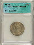 Bust Quarters, 1835 25C --Cleaned--XF40 ICG. XF40 Details. B-7. NGC Census: (27/279). PCGS Population (50/215). Mintage: 1,952,000. Num...
