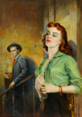 Pulp, Pulp-like, Digests, and Paperback Art, AMERICAN ARTIST (20th Century). The Detective, paperbackcover. Oil on canvas. 24 x 17 in.. Not signed. ...
