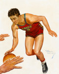 Pulp, Pulp-like, Digests, and Paperback Art, EARLE K. BERGEY (American, 1901-1952). Basketball Player, sportspulp cover. Oil on canvas. 20 x 16 in.. Signed lower ri...
