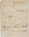 Autographs:Military Figures, Confederate Documents: Holographic Letter from Governor Milledge Bonham to General P. G. T. Beauregard Regarding Funding f...