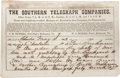 Autographs:Military Figures, Confederate Documents: Holographic Telegram from S. Richard deTreville to South Carolina Governor Milledge Bonham regardi...