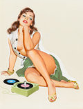 Pin-up and Glamour Art, J. FREDERICK SMITH (American, 20th Century). Pin-up with 45 rpmRecords, Ballyhoo Calendar illustration, 1953. Gouache o...