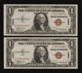 Small Size:World War II Emergency Notes, Fr. 2300 $1 1935A Hawaii Silver Certificates. Consecutive Pair. Choice Crisp Uncirculated.. ... (Total: 2 notes)