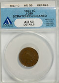Patterns: , 1863 1C One Cent, Judd-299, Pollock-359, R.3,--Cleaned, Scratched--AU50 ANACS. AU50 Details. PCGS Popul...