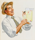 Mainstream Illustration, NORMAN MINGO (American, 1896-1980). Man With a Pitcher ofLemonade. Watercolor on board. 15 x 14 in.. Signed lowerleft...