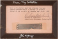 Explorers:Space Exploration, Apollo 10 Flown Film Fragment Directly from the Personal Collection of Mission Command Module Pilot John Young, Certified and ...