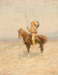 EDWIN WILLARD DEMING (American, 1860-1942) Indian on Horseback Oil on canvas 28 x 22 inches (71.1