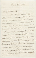 """Autographs:Statesmen, Roger B. Taney Autograph Letter Signed """"R. B. Taney"""" as the fifth chief justice of the United States. Two pages, 4.5"""" x ..."""