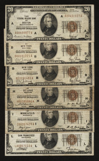 Fr. 1870-A; B (2); H; I; L $20 1929 Federal Reserve Bank Note. Fine or VF