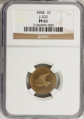 Patterns: , 1858 P1C Flying Eagle Cent, Judd-202, Pollock-245-246, R.5, PR61NGC. NGC Census: (2/26). PCGS Population (2/44). (#11867...
