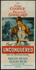 "Movie Posters:Adventure, Unconquered (Paramount, R-1955). Three Sheet (41"" X 81"").Adventure.. ..."