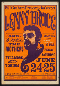 """Lenny Bruce Concert Poster (Bill Graham Productions, 1966). Window Card (14"""" X 20""""). Comedy"""