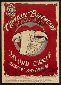 """Captain Beefheart and his Magic Band """"Red Bull"""" Avalon Concert Poster FD-13 (Family Dog, 1966). Window Card (1..."""