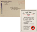 Premiums:Radio, Tom Mix Straight Shooters Club Certificate and Mailer (Ralston Purina, 1942).... (Total: 2 Items)