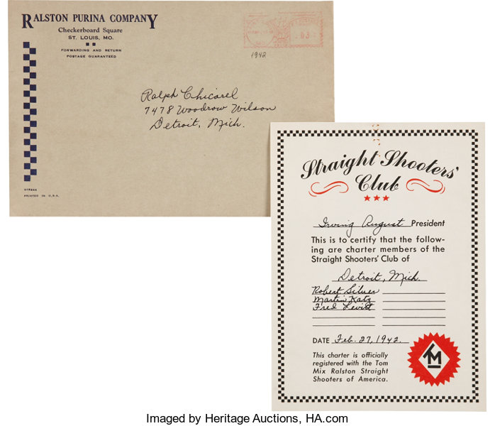 db70a456c02f6 Tom Mix Straight Shooters Club Certificate and Mailer