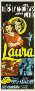 "Movie Posters:Film Noir, Laura (20th Century Fox, R-1952). Insert (14"" X 36""). ..."