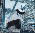 Mainstream Illustration, AMERICAN ARTIST (20th Century). Ship Launching. Acrylic onboard. 31.5 x 19.5 in.. Not signed. ...