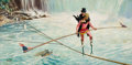 Mainstream Illustration, WALTER MARTIN BAUMHOFER (American, 1904-1987). Tightrope OverNiagara. Oil on board. 22 x 42 in.. Signed lower left. ...