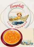 Mainstream Illustration, AMERICAN ARTIST (20th Century). Clam Chowder, Campbell's Soup adillustration. Mixed-media on board. 19 x 14.25 in.. Not...