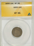 Bust Dimes: , 1835 10C VF35 ANACS. NGC Census: (8/395). PCGS Population (24/350).Mintage: 1,410,000. Numismedia Wsl. Price for NGC/PCGS ...