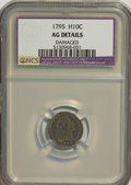 Early Half Dimes: , 1795 H10C --Damaged--NCS. AG Details. NGC Census: (1/330). PCGSPopulation (5/479). Mintage: 78,600. Numismedia Wsl. Price f...