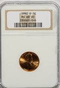 Lincoln Cents: , 1992-D 1C MS68 Red NGC. NGC Census: (18/0). PCGS Population(230/5). (#3101)...