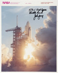 Autographs:Celebrities, John Young Signed STS-1 Color Launch Photo Directly from hisPersonal Collection. ...