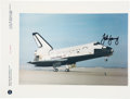 Autographs:Celebrities, John Young Signed STS-9 Color Landing Photo Directly from his Personal Collection....