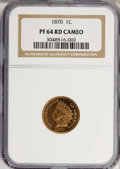 Proof Indian Cents, 1870 1C PR64 Red Cameo NGC....
