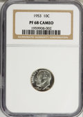 Proof Roosevelt Dimes: , 1953 10C PR68 Cameo NGC. NGC Census: (90/5). PCGS Population (7/0).Numismedia Wsl. Price for NGC/PCGS coin in PR68: $340....