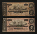 Confederate Notes:1864 Issues, T67 $20 1864. Two Examples.. ... (Total: 2 notes)