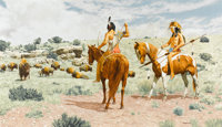 STANLEY BORACK (American, 1927-1993) The Challenge Oil on canvas 21 x 36 in. Signed lower righ