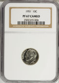 Proof Roosevelt Dimes: , 1951 10C PR67 Cameo NGC. NGC Census: (152/87). PCGS Population(96/6). Numismedia Wsl. Price for NGC/PCGS coin in PR67: $1...