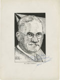 Basketball Collectibles:Others, Circa 1936 James Naismith Signed Artwork. ...