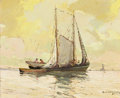 Paintings, PAUL RICHARD SCHUMANN (American, 1876-1946). Gulf Coast Sail Boats. Oil on canvas board. 13-1/2 x 16-1/2 inches (34.3 x ...