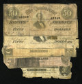 Confederate Notes:Group Lots, Mixed Lot of Five Well-Circulated Confederate Notes.. ... (Total: 5notes)