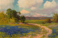 Paintings, ROBERT WILLIAM WOOD (American, 1889-1979). Bluebonnet Landscape with Road. Oil on board. 13 x 20 inches (33.0 x 50.8 cm)...