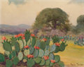 Texas:Early Texas Art - Regionalists, ROLLA SIMS TAYLOR (American, 1872-1970). Landscape withCactus. Oil on artist's board. 11 x 14 inches (27.9 x 35.6 cm)....