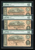 Confederate Notes:1864 Issues, T69 $5 1864. Three Consecutive Examples.. ... (Total: 3 notes)
