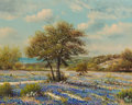 Texas:Early Texas Art - Impressionists, WILLIAM ROBERT THRASHER (American, 1908-1997). BluebonnetLandscape. Oil on canvas. 16 x 20 inches (40.6 x 50.8 cm).Sig...
