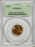 Lincoln Cents: , 1933 1C MS66 Red PCGS. PCGS Population (252/32). NGC Census:(168/23). Mintage: 14,360,000. Numismedia Wsl. Price for NGC/P...