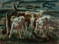 Texas:Early Texas Art - Regionalists, EMILY RUTLAND (American, 1890-1983). Curious Calves, 1949.Oil on canvas. 18 x 24 inches (45.7 x 61.0 cm). Signed and da...