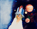 Mainstream Illustration, CHRIS CALLE (American, b. 1961). Space Shuttle, Maximum Card Setillustration, 1989. Mixed-media on board. 16 x 20.5 in....