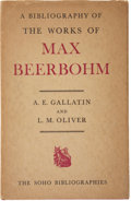 Books:First Editions, A. E. Gallatin and L. M. Oliver. A Bibliography of the Works ofMax Beerbohm. London: Rupert Hart-Davis, 1952. First...